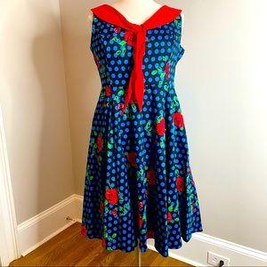 NEW PINUP ROCKABILLY DRESS HEARTS & ROSES - SZ 16